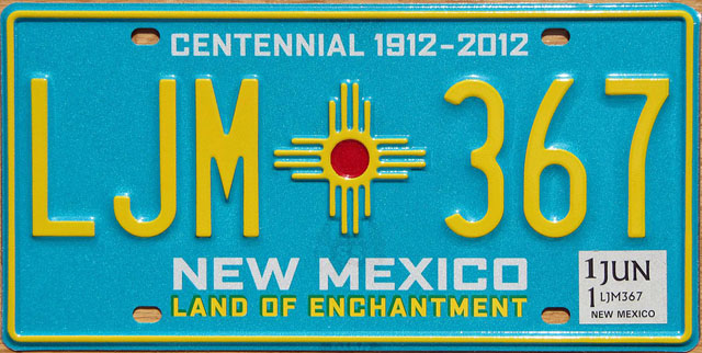 New Mexico U.S. license plate