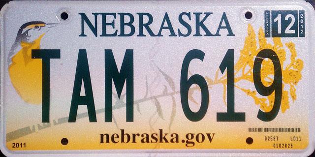 Nebraska U.S. license plate