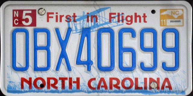 North Carolina U.S. license plate