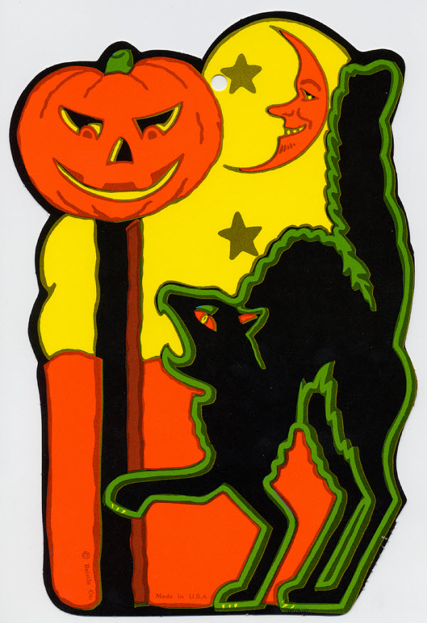Black cat with jack-o-lantern and moon - (Vintage Beistle Halloween Decoration)
