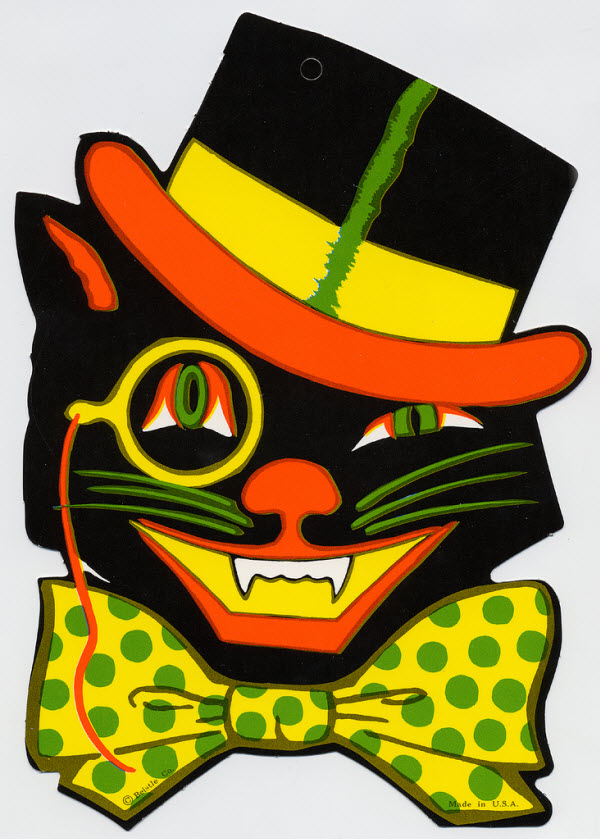 Black cat with monocle and top hat - (Vintage Beistle Halloween Decoration)