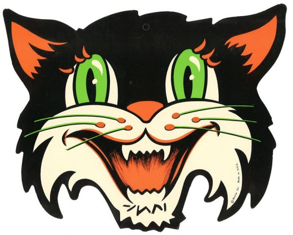 vintage beistle halloween decoration cat with green eyes - Antique Halloween Decorations