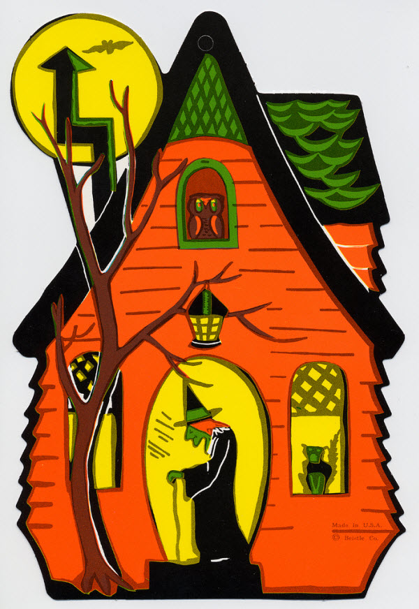 Haunted house with witch - (Vintage Beistle Halloween Decoration)