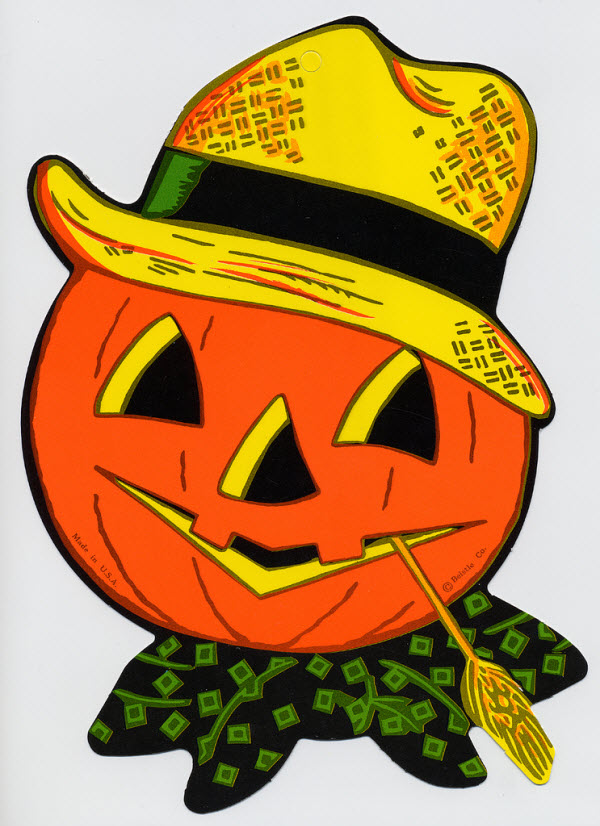 Jack-o-lantern with straw hat - (Vintage Beistle Halloween Decoration)