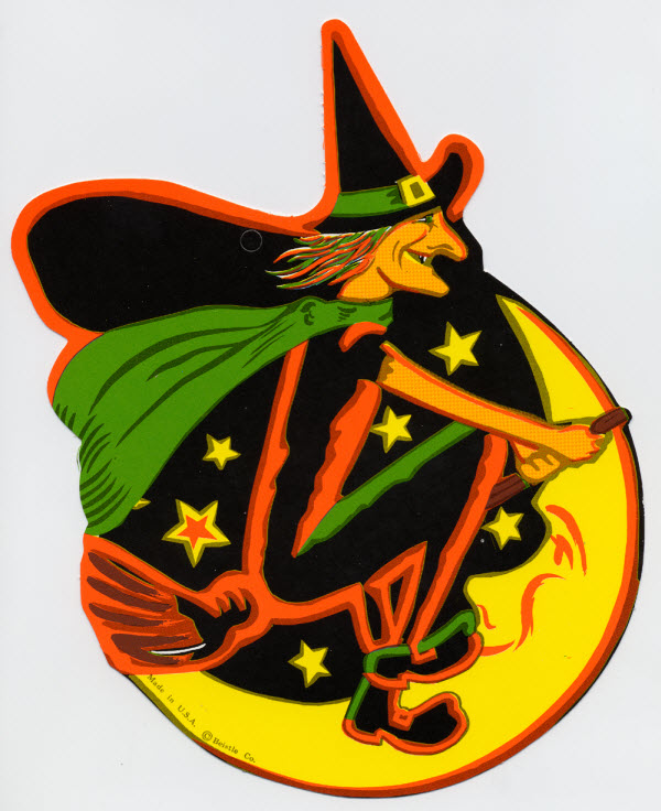 Witch on a broomstick in front of the moon - (Vintage Beistle Halloween Decoration)