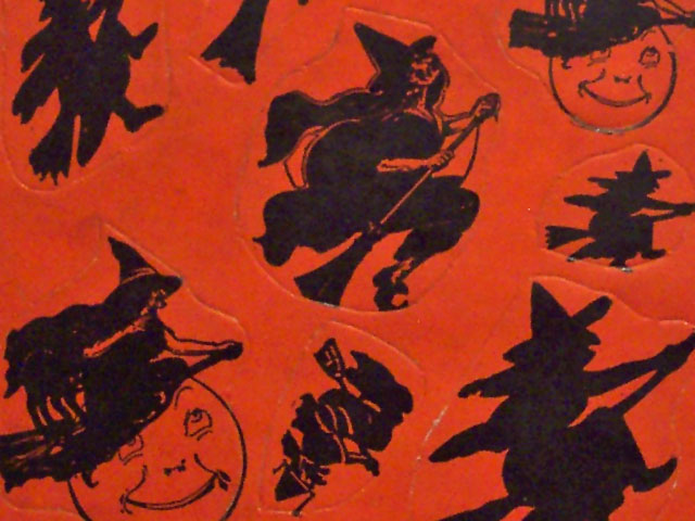 vintage beistle halloween witch seals - Halloween Vintage Decorations