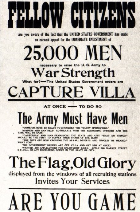 Pancho Villa Expedition (1916 - 1917) recruitment poster
