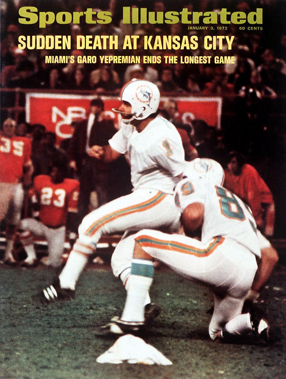 Sports Illustrated cover of the Dolphins/Chiefs 1971 Divisional playoff game (Christmas)