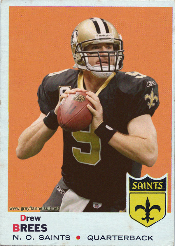 retro football cards drew brees topps 1969 style