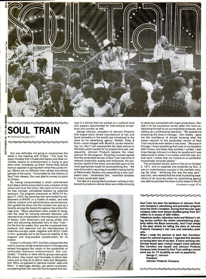 'Soul Train'/Don Cornelius Billboard magazine spotlight - September 28, 1974