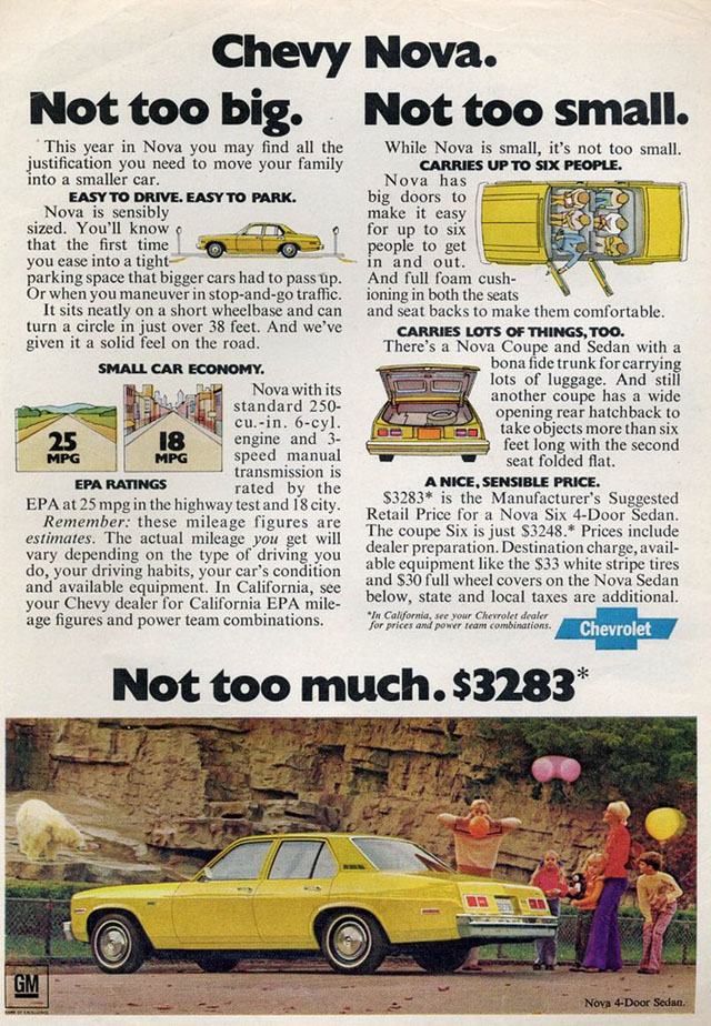 1975 Chevy Nova ad