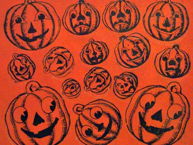 vintage beistle halloween pumpkin seals - Old Fashioned Halloween Decorations