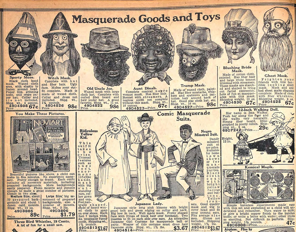 racist negro makeup outfit fall 1920 sears catalog - Halloween Catalogs