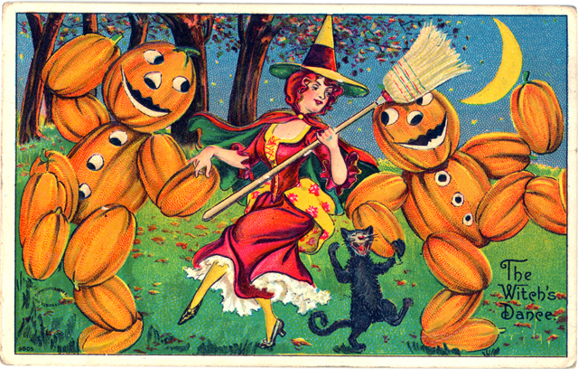 The Witch's Dance Vintage Halloween Card