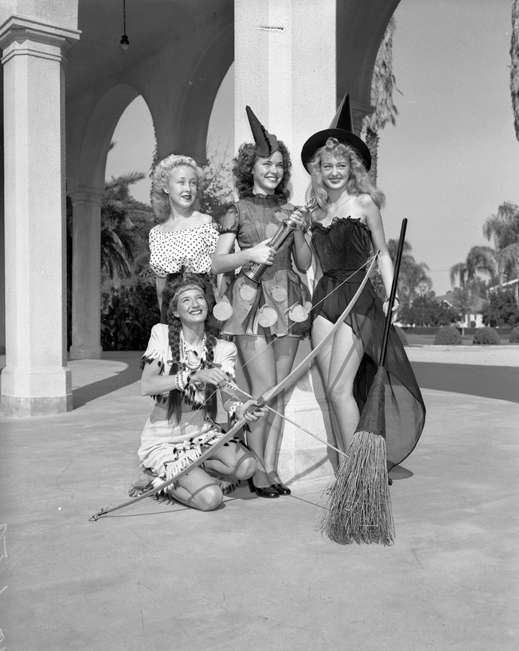Four contestants of the Halloween Slick Chick beauty contest in Anaheim, Calif., 1947.