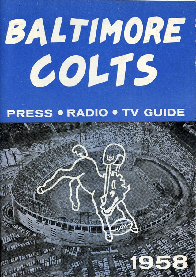 NFL Media Guide/Yearbook cover - Baltimore Colts 1958