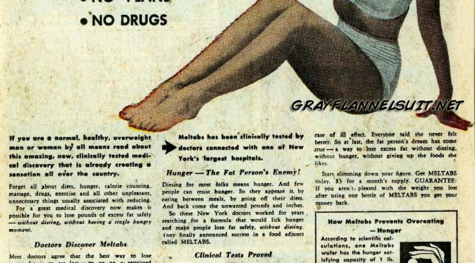 Meltabs weight loss ad, 1953