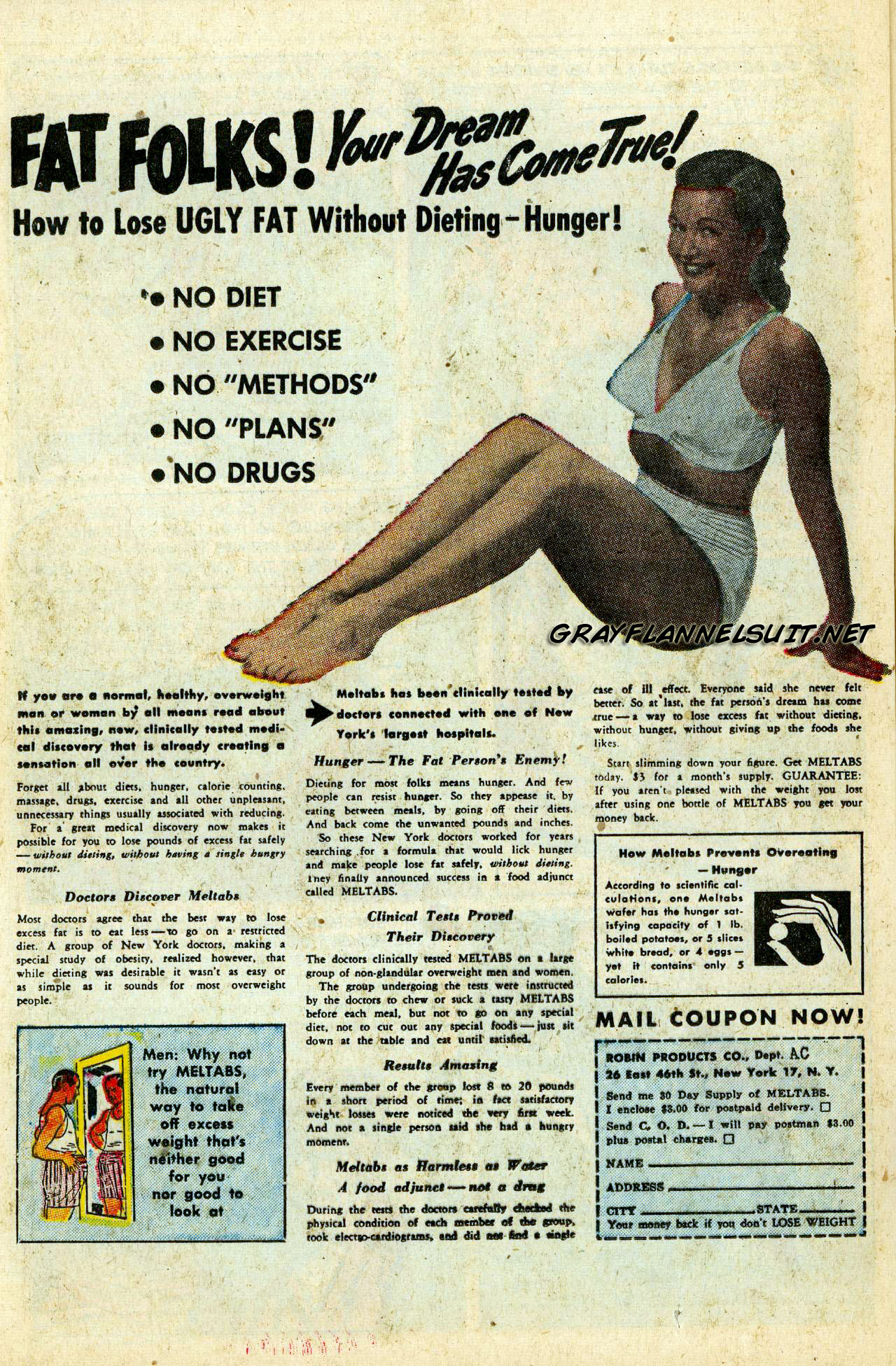 Meltabs weight loss ad, 1953