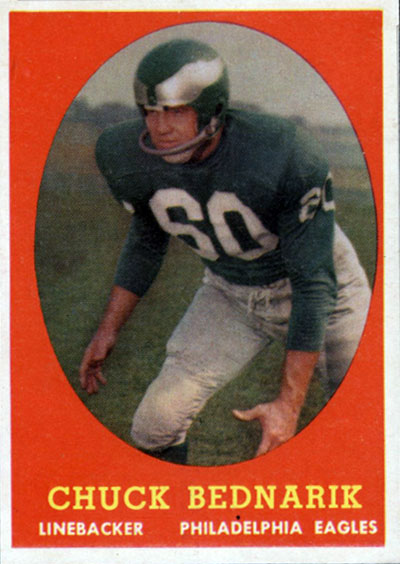 Chuck Bednarik 1958 Topps football card