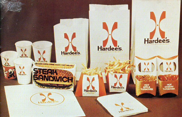 Hardee's packaging w/logo (1973)