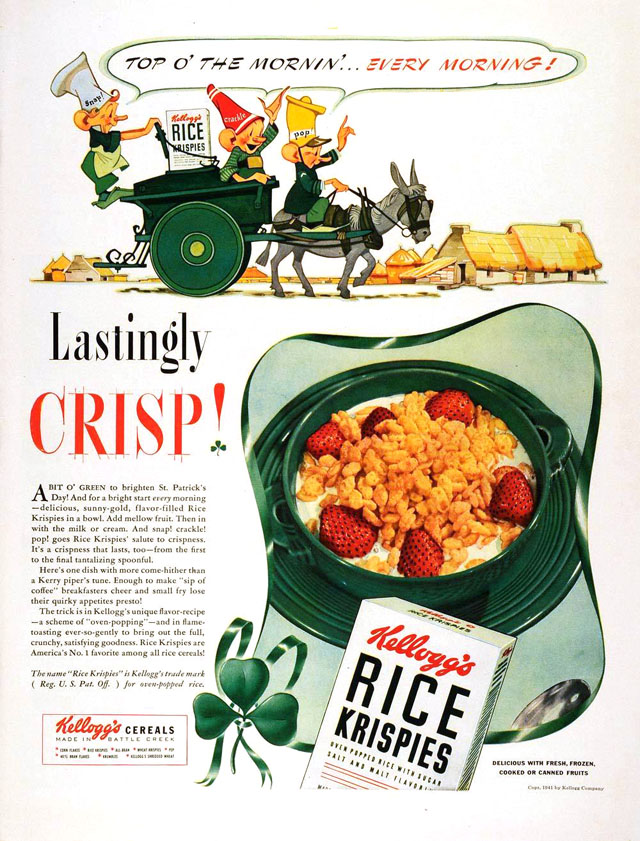 Kellogg's Rice Krispies (1941) vintage St. Patrick's Day ad