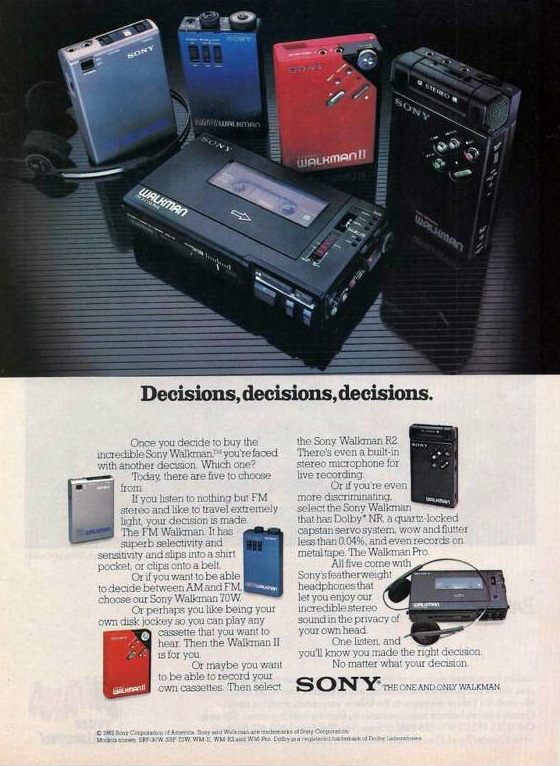 Sony Walkman ad - 1982