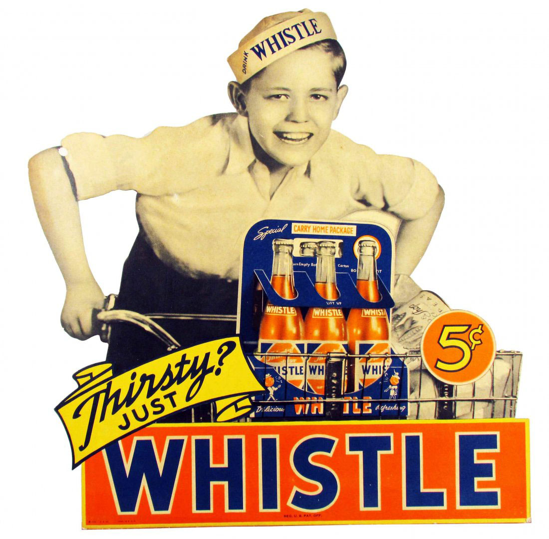 Whistle Orange Soda cardboard advertising sign