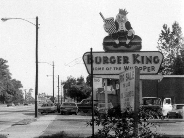 Great Photo of a Vintage 1960s Burger King Sign in the Wild