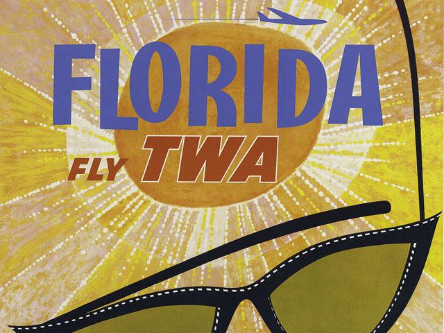 Vintage Airline Travel Poster / TWA - Florida