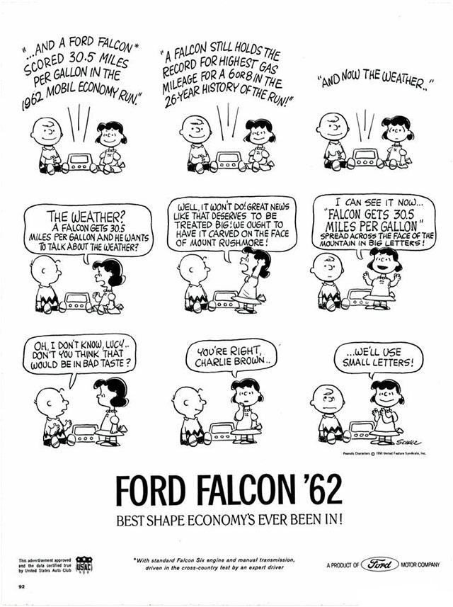1962 Peanuts/Ford Falcon print ad
