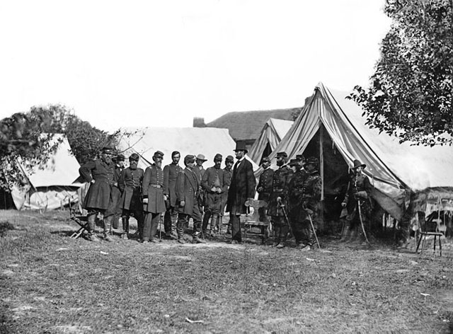 Pred. Lincoln with Maj. Gen. McClellan and staff at the Grove Farm after the Battle of Antietam - October 3, 1862.