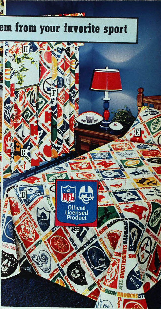 Nfl bedding for boys - National Football League Nfl Sheets Sears 1975 Fall Catalog