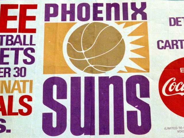 Phoenix Suns logo on a billboard