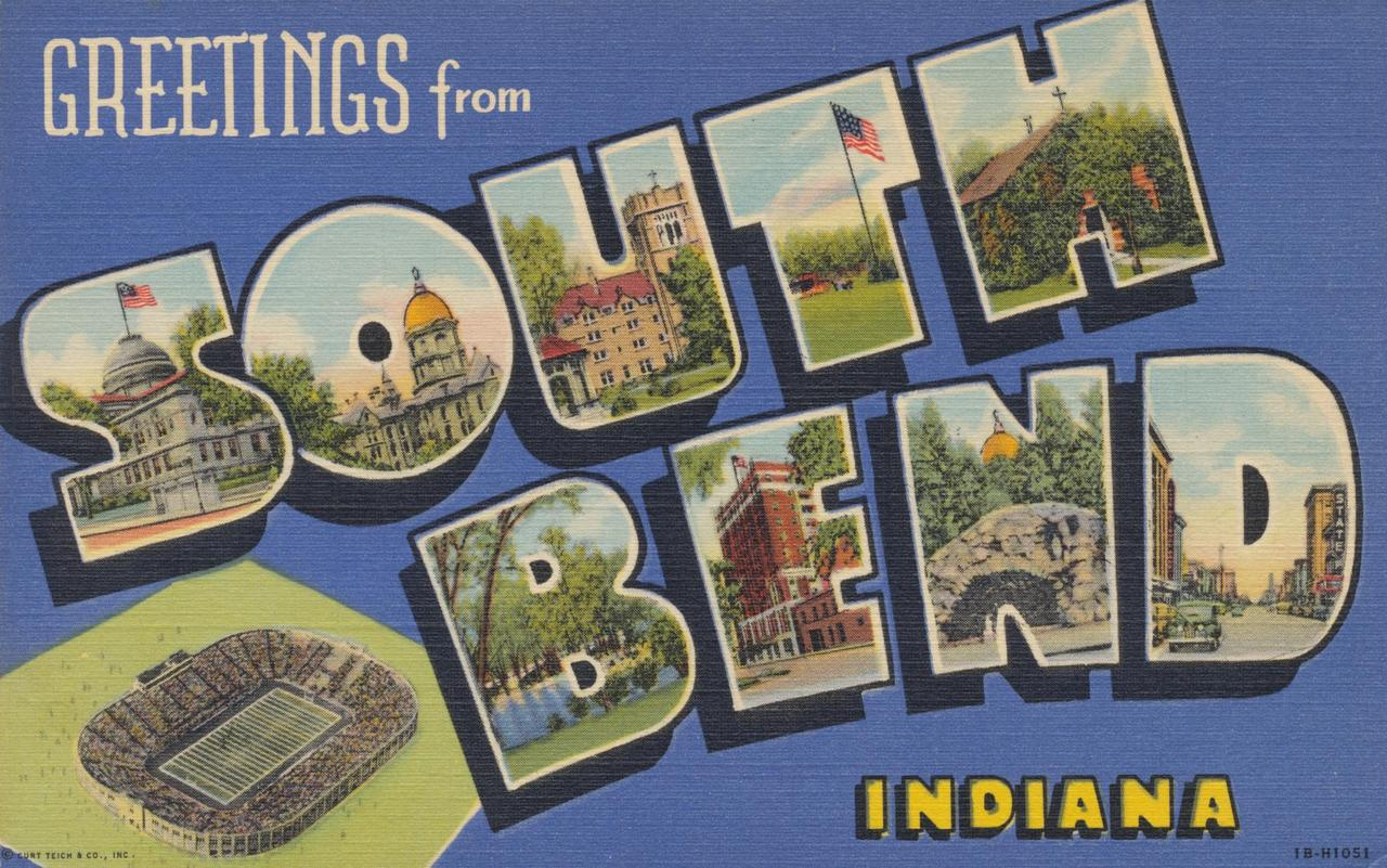 Greetings from South Bend, Indiana postcard