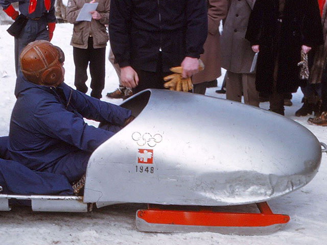 Vintage Photo of a Late 1940s Bobsleigh in Lake Placid, New York