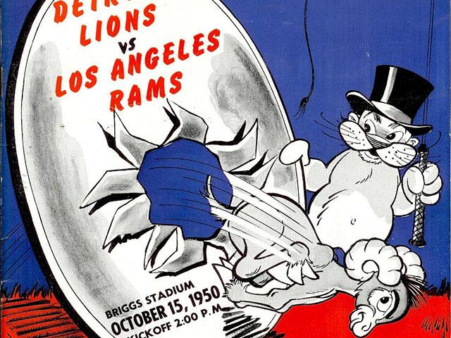 Detroit Lions vs. Los Angeles Rams game program (1950)