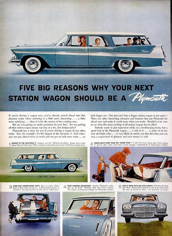 1958 Plymouth Suburban station wagon ad