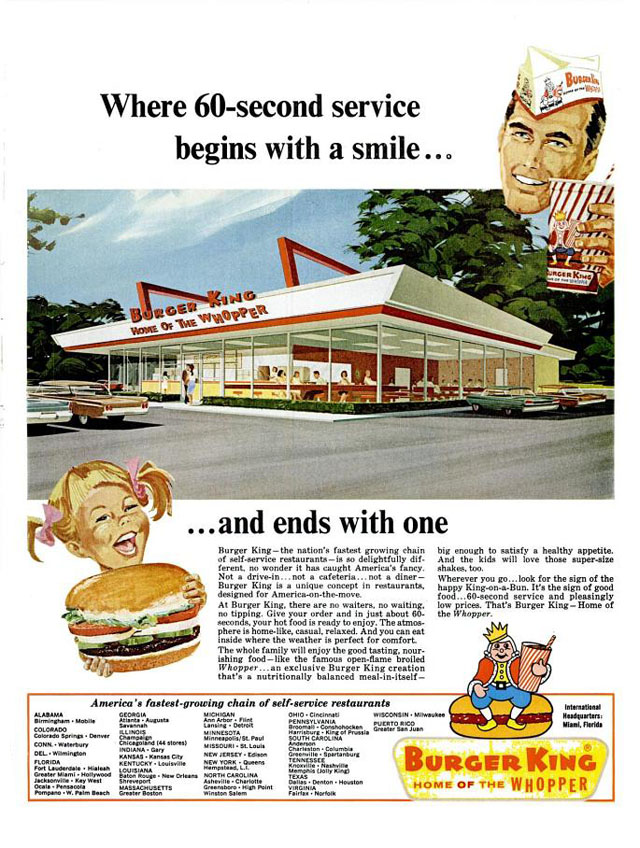 Burger King print ad (1966) with mascot logo