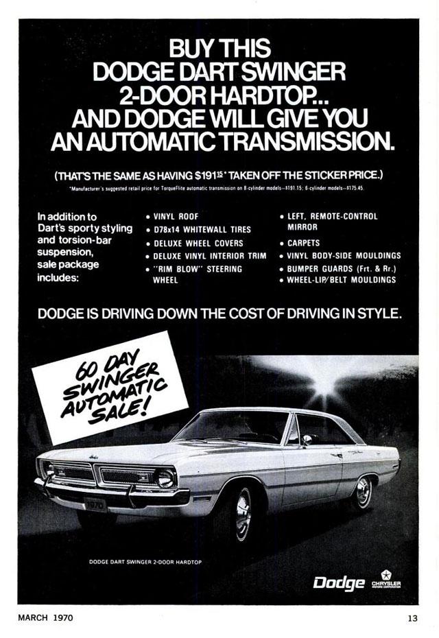 1970 Dodge Dart Swinger ad