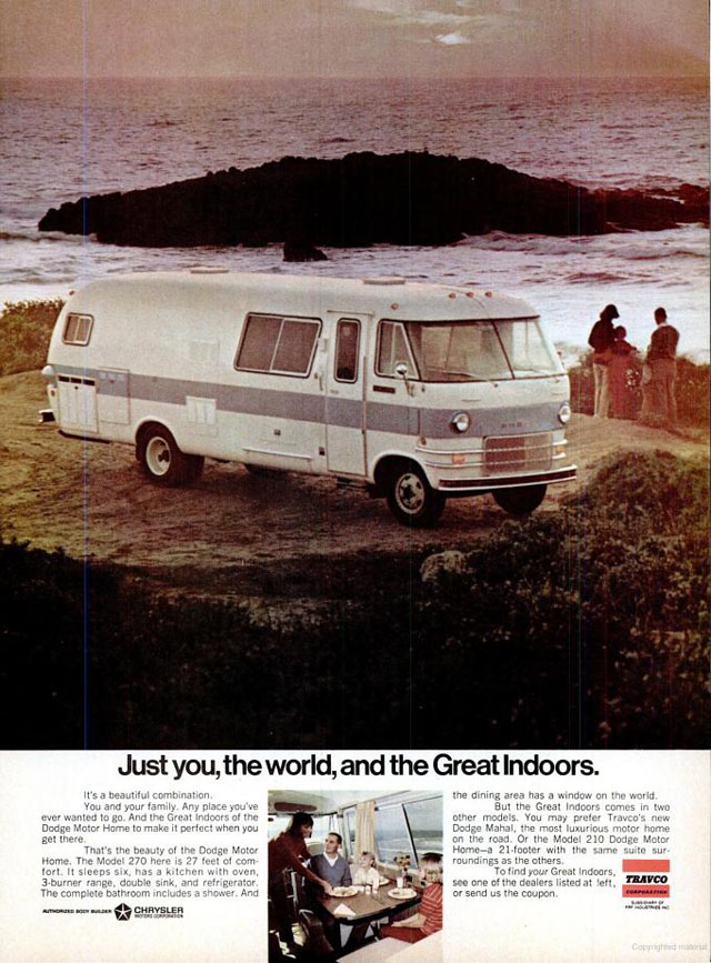 1970 Travco Dodge motor home ad