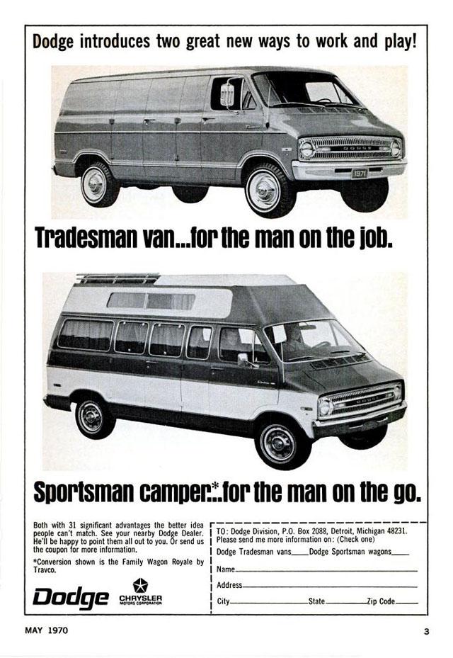 1970 Dodge Sportsman/Tradesman van ad
