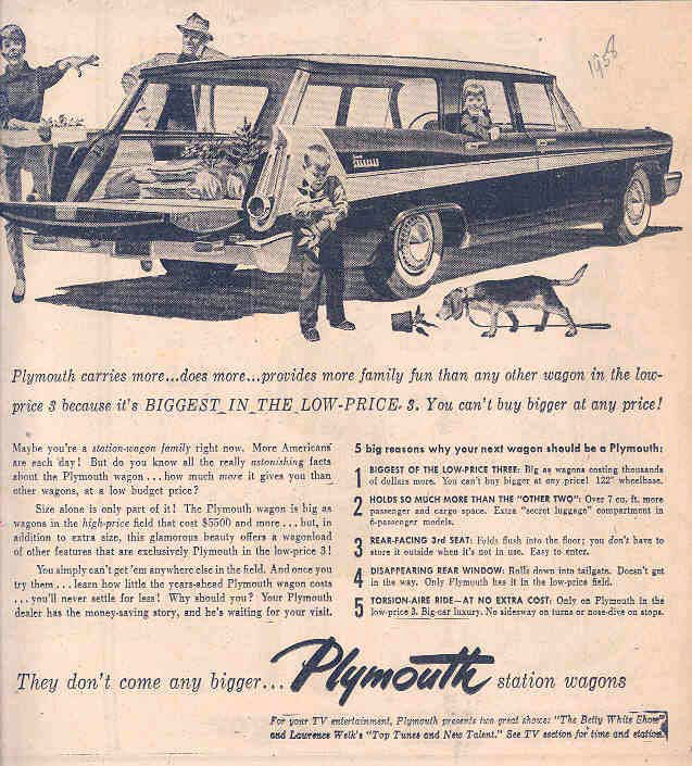1958 Plymouth station wagon newspaper ad