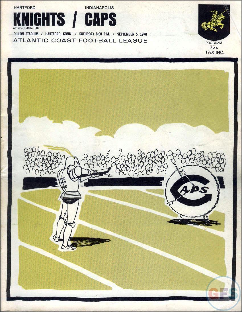 1970 ACFL program: Hartford Knights vs. Indianapolis Caps