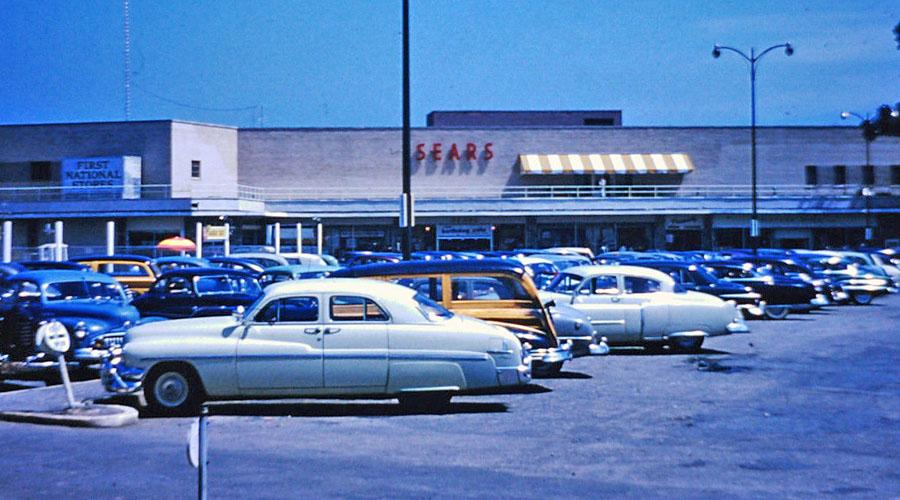 Vintage Kodachrome slide: Sears Parking Lot, 1940s