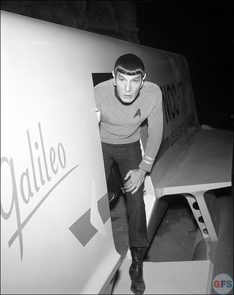 Mr. Spock (Leonard Nimoy) on the set of Star Trek: The Original Series