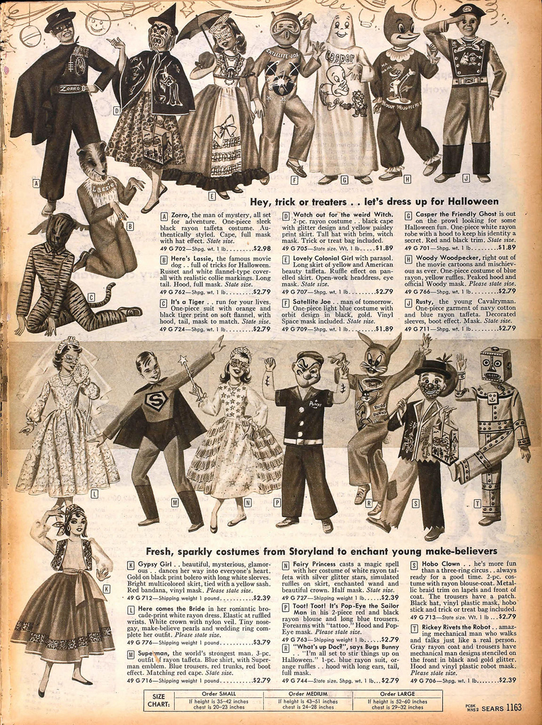 Sears Halloween costumes, 1958