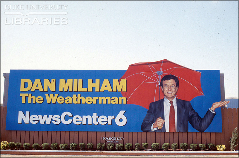 Vintage local news billboard, 1970s-1980s, Dan Milham weather