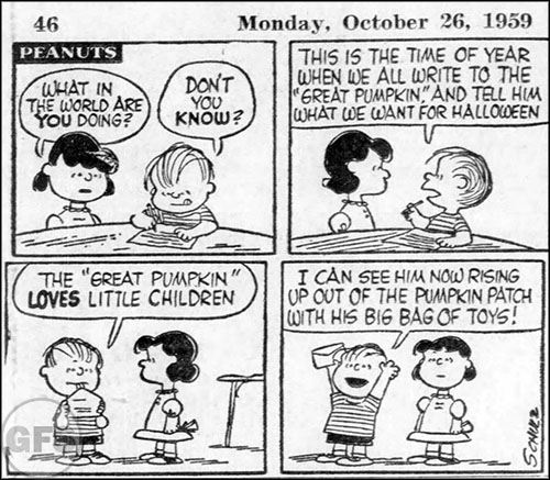 Peanuts strip from October 26, 1959.