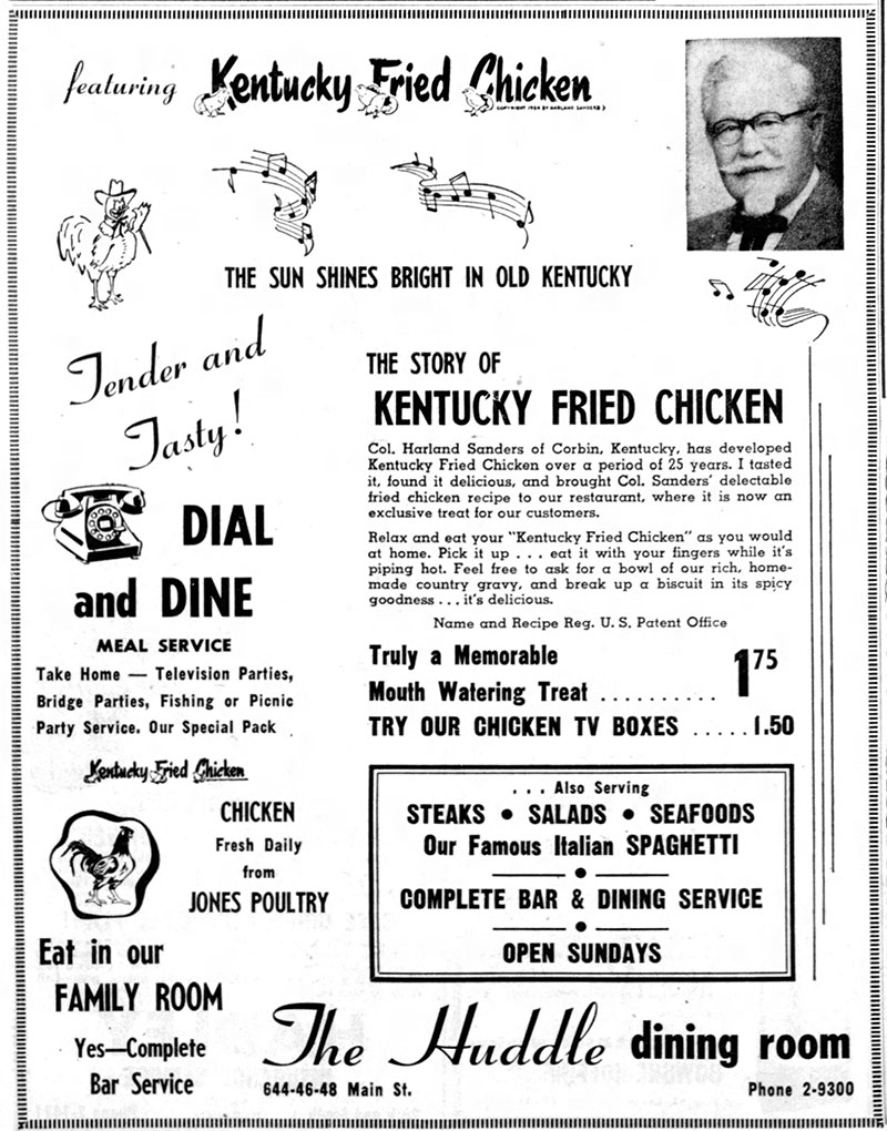 1956 Kentucky Fried Chicken ad