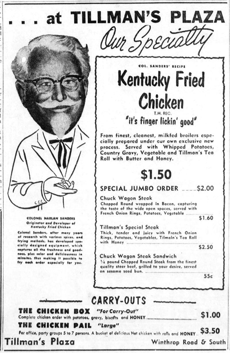 "1958 Tillman's Plaza ad featuring KFC's famous tagline, ""It's Finger Lickin' Good"""
